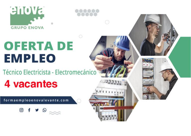 OFERTA DE EMPLEO | 4 vacantes de Técnico Electricista - Electromecánico